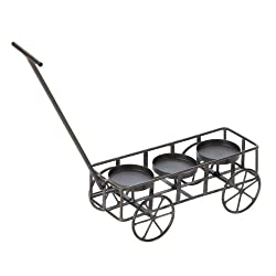Iron Wire-Frame Wagon Candle Holder