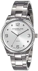 "Stuhrling Original Men's 607G.01 ""Classique Allure"" Stainless Steel Watch with Diamonds"
