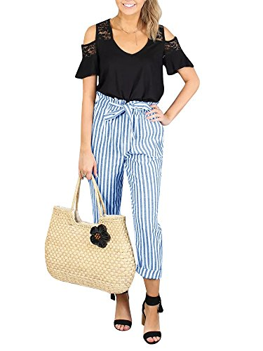 - Lynwitkui Womens Striped High Waisted Palazzo Pants Casual Waist Belt Cropped Trouser with Pockets