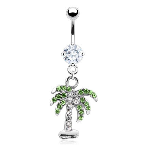Palm Tree with Clear, Pink, or Aqua Gem - 14g 316L Stainless Steel Dangle Belly Navel Ring (Clear)