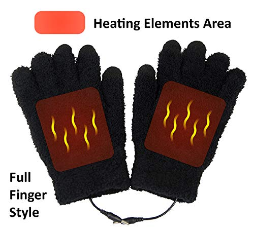 ObboMed® MH-1005 Far Infra-red Carbon Fiber Heated Warming Gloves, Touchscreen Full Finger USB 5V 6W –Laptop iPhone Power Bank PC, Wavelength 8-15 μm (Health Range: 4-14 μm) –Universal Stretchy Size