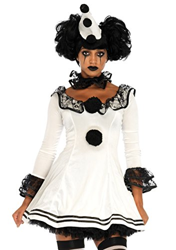 Leg Avenue Women's Black and White Sad Pierrot Clown Costume, Medium/Large
