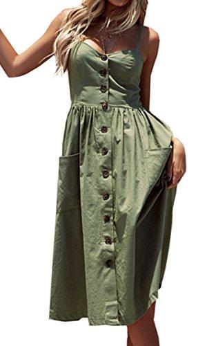 (Angashion Women's Dresses-Summer Floral Bohemian Spaghetti Strap Button Down Swing Midi Dress with Pockets 0913 Green L )