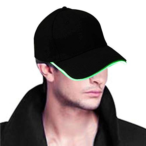 Light Up Hat,Glowseen LED Glow Baseball Hat,USB Rechargeable for Party Sports Walking Jogging Bicycling -Green -