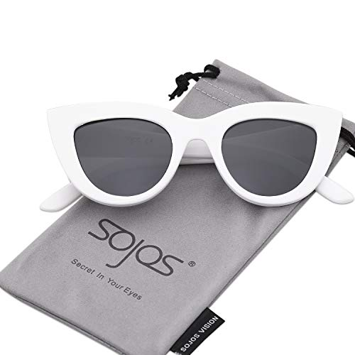 (SOJOS Retro Vintage Cateye Sunglasses for Women Plastic Frame Mirrored Lens SJ2939 with White Frame/Grey Lens)
