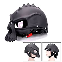 Skull Motorcycle Helmet Dual Use Half Face Capacetes Casco Novelty Retro Classic Motorcycle Helmet Black DOT