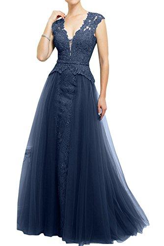 La_Marie Braut Dunkel Rosa Spitze Glamour Abendkleider Brautmutterkleider  Ballkleider Lang A Linie Rock Navy Blau