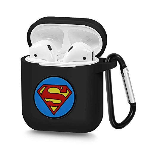 Airpods Case, Portable Silicone AirPods Charging Case with Carabiner Compatible with Apple Airpods Superhero Logo -