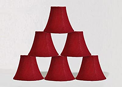 Urbanest 10000503c Chandelier Lamp Shade 6-inch, Bell, Clip On, Burlap, Red (set of 6)