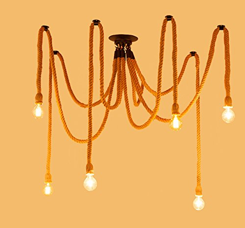 Industrial Swag Chandelier Rustic Lighting Hardwired Cotton Rope Pendant Light fixtures 6 Heads
