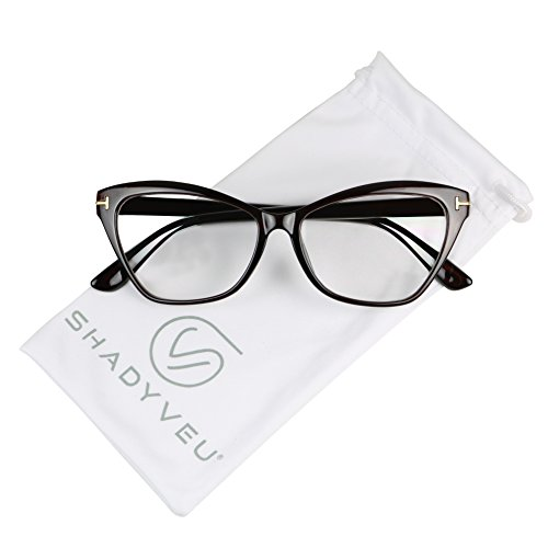 ShadyVEU - Women's Sophisticated Cat Eye Sexy Sleek Clear Lens Rx Prescription Frame Eye Glasses (Brown Frame, - Translucent Sunglasses Are Transparent Or