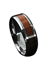 Gnex 8mm Tungsten Carbide Simulated Wood Inset Beveled Edge Wedding Band Ring Size 5-13