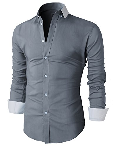 f8c8893a87352 H2H Mens Classic Slim Fit Dress Long Sleeve Shirts Of Various Colors GRAY US  M