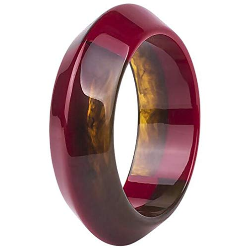 Jude Jewelers Fashion Stylish Acrylic Resin Plastic Statement Clocktail Party Bangle Bracelet (Brown-Red)