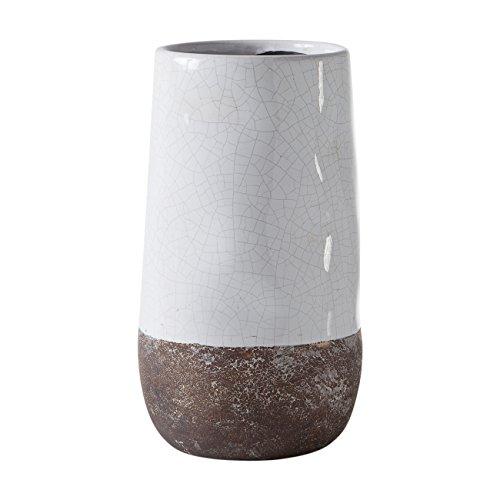 A Corsica Ceramic Crackle 2 Tone Vase, White (White Crackle Ceramic)