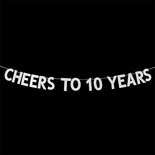 Cheers to 10 Years Banner - Happy 10th Birthday Party Bunting Sign - 10th Wedding Anniversary Decorations Supplies - Silver