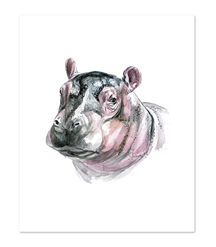 - AtoZStudio A9 Hippo Poster Print - Hippopotamus Cute Baby Animal Watercolor Painting Portrait Face - Wall Art Decor Picture Artwork - Africa Wild Safari Jungle (8x10)