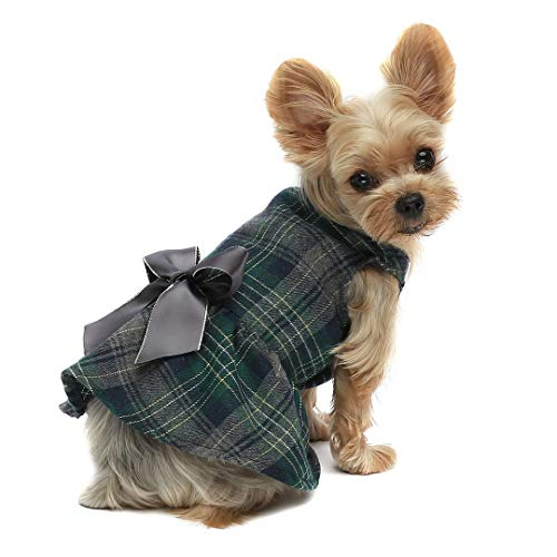 Fitwarm Plaid Dog Dresses Pet Clothes Cat Vest Shirts Apparel Green