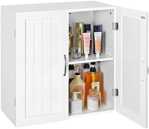 Topeakmart White Wooden Bathroom Wall Cabinet Toilet Medicine Storage Organizer with Adjustable Shelf Cupboard Unit