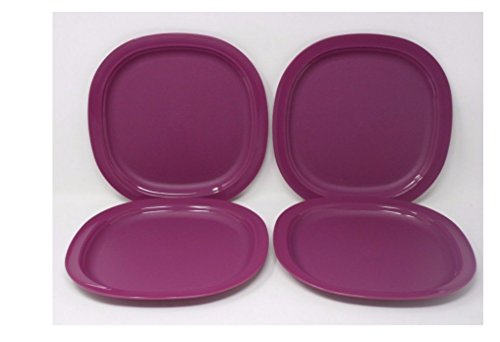 New Tupperware Square Plates 8 inches in Raspberry Red