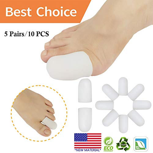 Gel Toe Caps Toe Protectors Toe Sleeves *New Material* for Blisters, Corns, Hammer Toes, Ingrown Toenails, Toenails Loss, Friction Pain Relief and More (10 pcs White)
