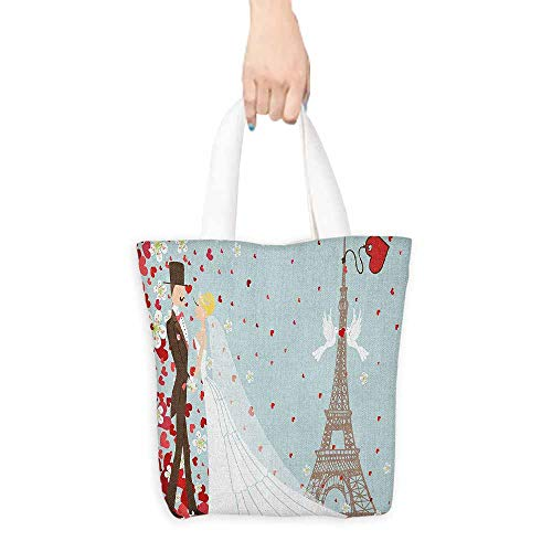 Simple casual handbag Wedding French Couple Hand Drawn Paris Eiffel Tower Getting Married Hearts Celebration Canvas zipper 16.5