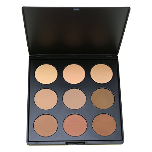 Face Base Foundation Palette 9 Color Natural Contour, Vodisa Highlighter Powder Kit Makeup Set, Cheek Foundation Pressed Powder Beauty Cosmetics Make Up Bronze Contouring and Highlighting Pallet (2)
