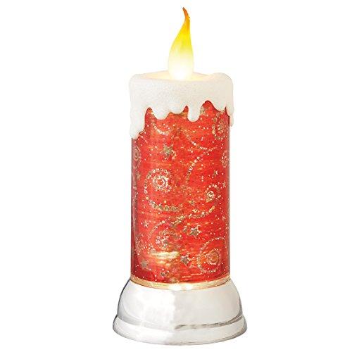 Red Pillar Candle Swirl LED Light-up 4.5 inch Acrylic Christmas Figurine Snow Globe