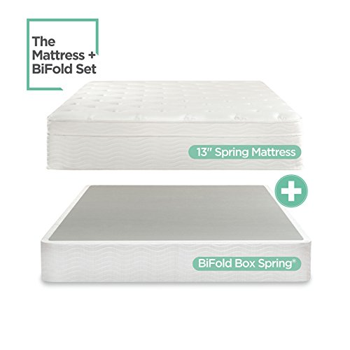 Night Therapy Spring 13 Inch Deluxe Euro Box Top Mattress and BiFold Box Spring Set, Full