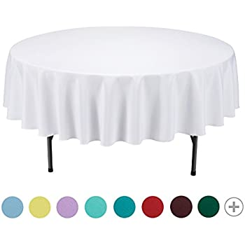 VEEYOO 90 Inch Round Solid Polyester Tablecloth For Wedding Restaurant  Party, White