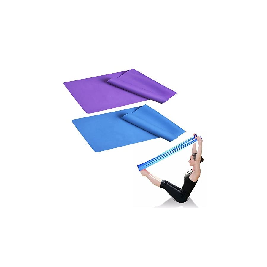 """SUNFUNG 60"""" X 6"""" Stretch Exercise Resistance Bands Resistance For Physical Therapy, Pilates, Yoga, Strength Training Workout 2 Pack"""