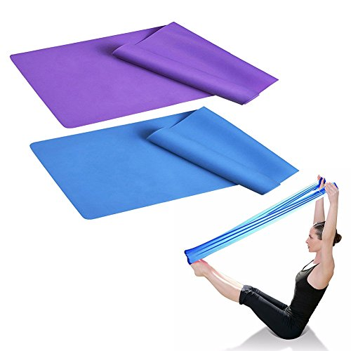 "SUNFUNG 60"" X 6"" Stretch Exercise Resistance Bands Resistance For Physical Therapy, Pilates, Yoga, Strength Training Workout 2 Pack"