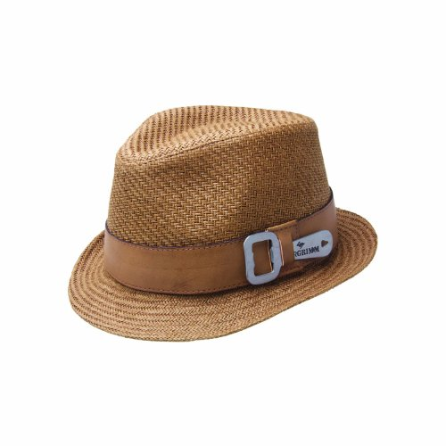 "One Size Brown ""Luke"" Paper Braid Fedora with Leather Hatband and Removable Bottle Opener"