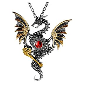 Glazed Black Cherry Steampunk – Dragon with Red Heart Pendant Necklace – Gothic – Punk – GoT – reddragon