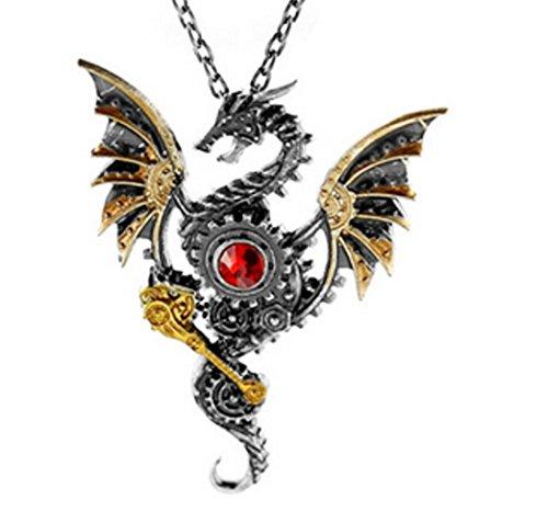 Glazed Black Cherry Steampunk - Dragon with Red Heart Pendant Necklace - Gothic - Punk - GoT - reddragon 3