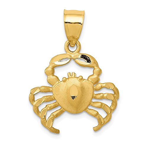 14k Yellow Gold Crab Pendant Charm Necklace Sea Life Lobster Man Fine Jewelry Gift For Dad Mens For Him -