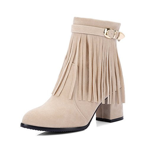 Heels Women's Kitten PU Solid Zipper Apricot Round AgooLar Boots Toe axdH6xY