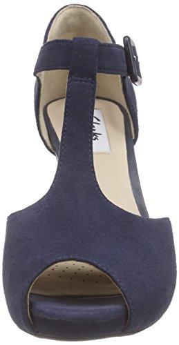 Clarks Kendra Flower - Tacones con Tira en T, Mujer Azul (navy Suede)