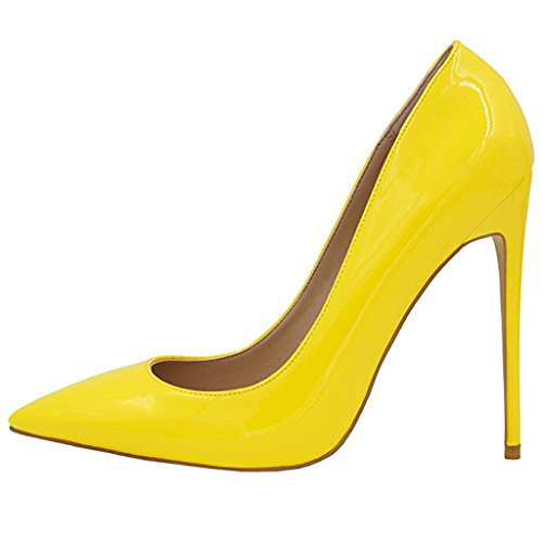 Mavirs Women's Sexy Yellow Pointy Toe Stiletto Pumps Slip-on Dress High Heels Plus Size Basic Shoes for Party Wedding 8.5 M US (Yellow Pointy Toe Pumps)