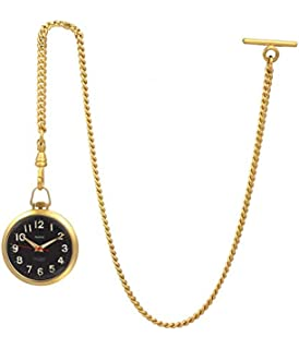 Modern Classic Smooth Surface Black Pocket Watch With Chain Refreshment Jewelry & Watches