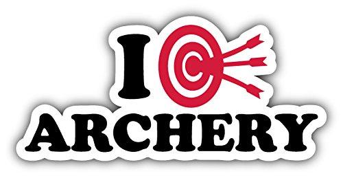 - novland I Love Archery Car Bumper Sticker Decal 6'' X 3''