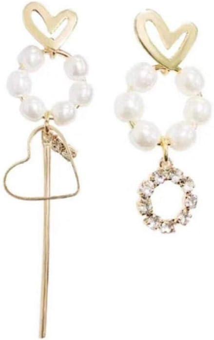 Empty Corazón en Forma de Perla asimétrica de Cristal Largo de Las Mujeres Pendientes de Gota Regalo de la joyería