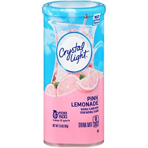 Crystal Light Pink Lemonade Drink Mix (24 Pitcher Packets, 4 Canisters of 6)