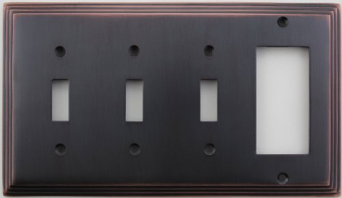 Classic Accents Deco Antique Copper Four Gang Wall Plate - Three Toggle Light Switch Openings One GFI/Rocker Opening