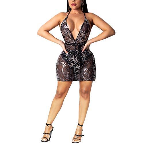 Club Outfits Deep V Neck Sleeveless Mesh Strap Glitter Cocktail Dress Black L
