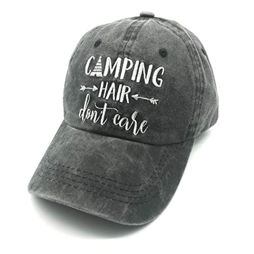 Embroidered Unisex Camping Hair Don t Care Vintage Washed Dyed Cotton  Adjustable Baseball Cap Dad 8af5db03503a