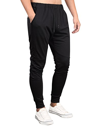 Kuulee Men's Casual Slim Fit Joggers Pants Gym Workout Running Trousers Fitness Activewear Sports Sweatpants Black L