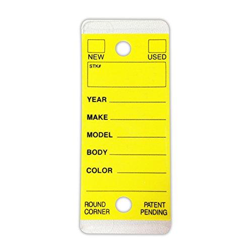 Automotive Key Ring Tags, Plastic Self Laminating Tags, Round Corner, Yellow, Box of 250 Photo #3