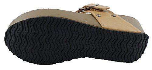 Cambridge Välj Kvinna Dubbade T-spänne Rem Plattform Wedge Sandal Beige