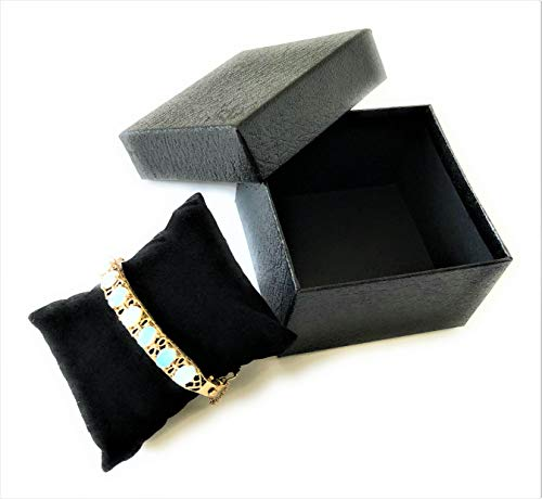 Pack of 24 Small Black Cardboard Jewelry Boxes, 3.5 by 3.5 by 2 with Black Pillow, Retail Gift Box for Packaging, Display, Holiday Treats & Candy, Sturdy Textured Walls, Matching Lid, Black Lining